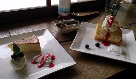 日光珈琲饗茶庵のチーズケーキとシフォンケーキ