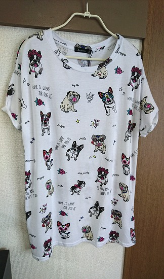 ベルシュカで買ったパグ柄Tシャツ