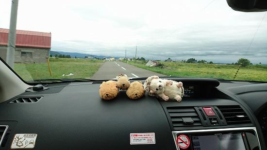 北海道旅行中の車の中