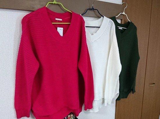GUのガーターVネックセーター