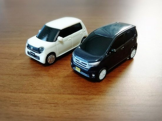 ホンダと日産のミニチュアカー