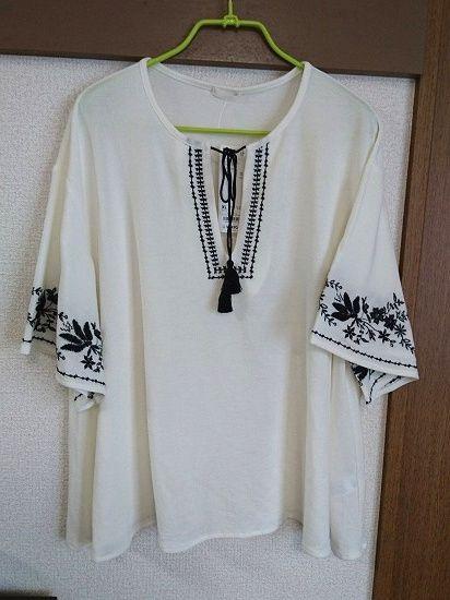 GU エンブロイダリーカフタンプルオーバー(5分袖)